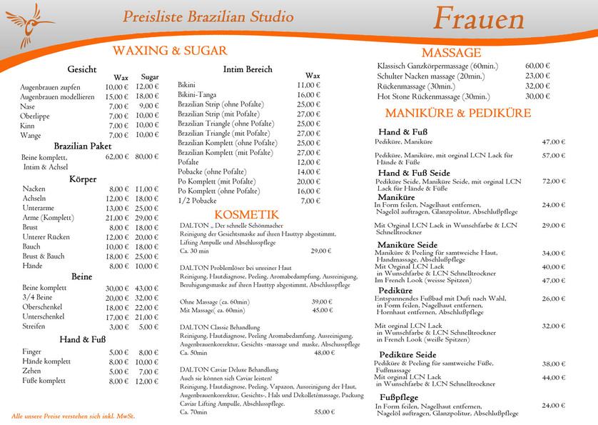 unsere preise brazilian waxing studio hamburg eidelstedt. Black Bedroom Furniture Sets. Home Design Ideas